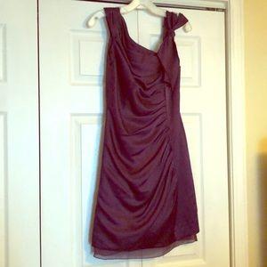 Vera Wang asymmetric plum bridesmaid dress size 6